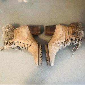 Camel/tan suede fur trim lace stack heel booties